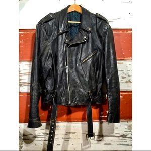 50w VTG Black Leather Biker Jacket